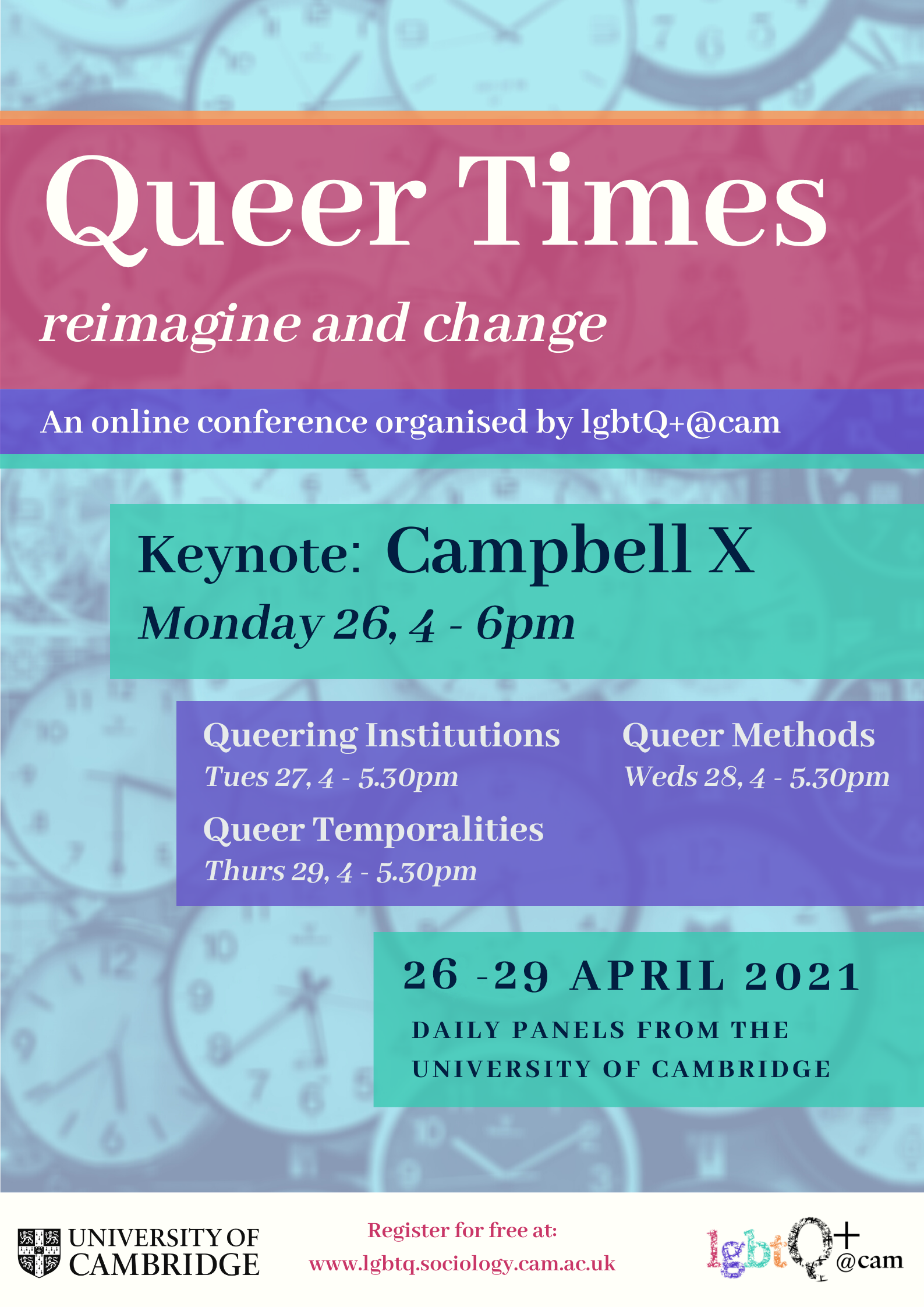 Queer Times 2021 poster - 26th - 29th April 2021